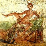 Rzymianie ozdabiali takimi freskami nie tylko burdele. Ten widnieje na jednej ze ścian podmiejskiej łaźni w Pompejach (il. domena publiczna).
