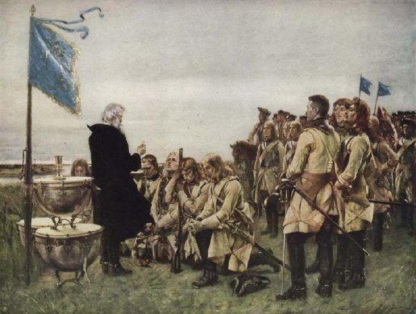 Komunia w szwedzkim obozie po bitwie pod Fraustadt (obraz Gustafa Cederströma, domena publiczna).