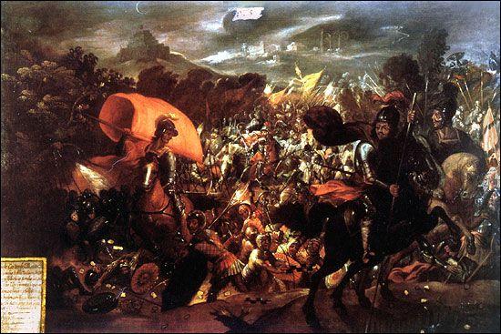 Hiszpanie uciekają z Tenochtitlan w czasie tzw. smutnej nocy (anonimowy obraz z XVII w.).