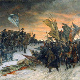 Zwycięstwo pod Narwą, jedna z wiktorii Karola XII (obraz Gustafa Cederströma, domena publiczna).