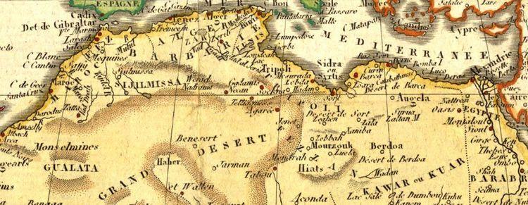 Berberyjskie wybrzeże Morza Śródziemnego. To tam rozgrywały się dramaty amerykańskich marynarzy. Fragment mapy Afryki z 1806 r. (źródło: domena publiczna).