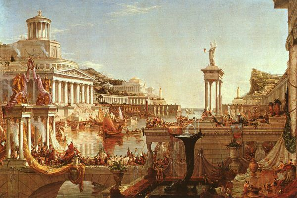Starożytny Rzym u szczytu swego rozkwitu na obrazie Thomasa Cole'a (domena publiczna).