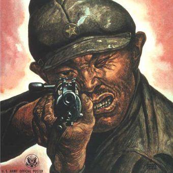 Wściekły grymas japońskiego żołnierza na amerykańskim plakacie propagandowym miał mówić jedno: on jest do zdolny do wszystkiego, musimy go powstrzymać (il. domena publiczna).