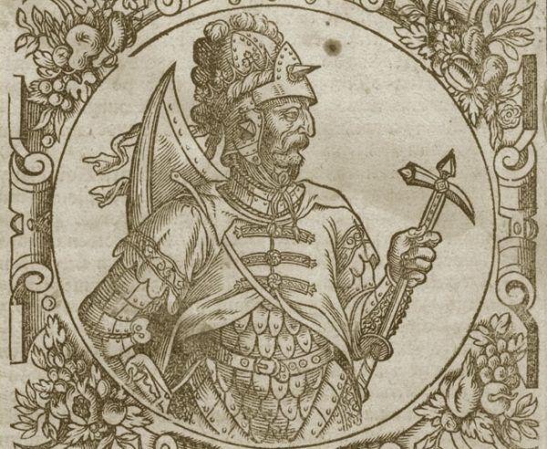 Wielki książę litewski Witenes w kronice Aleksandra Gwagnina, 1578 r. Ta sama grafika została użyta do przedstawienia Bolesława Chrobrego.