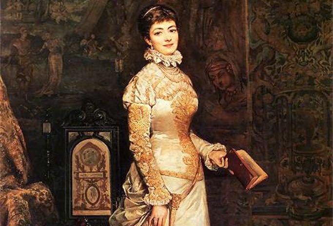 Matka Rudolfa, czyli piękna i utalentowana Helena Modrzejewska, sportretowana przez Tadeusza Ajdukiewicza w 1880 roku.