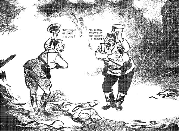 """Tak brytyjski karykaturzysta David Low wyobrażał sobie miesiąc po podpisaniu paktu spotkanie na zgliszczach Polski. Rysunek pochodzi z gazety """"Evening Standard""""."""