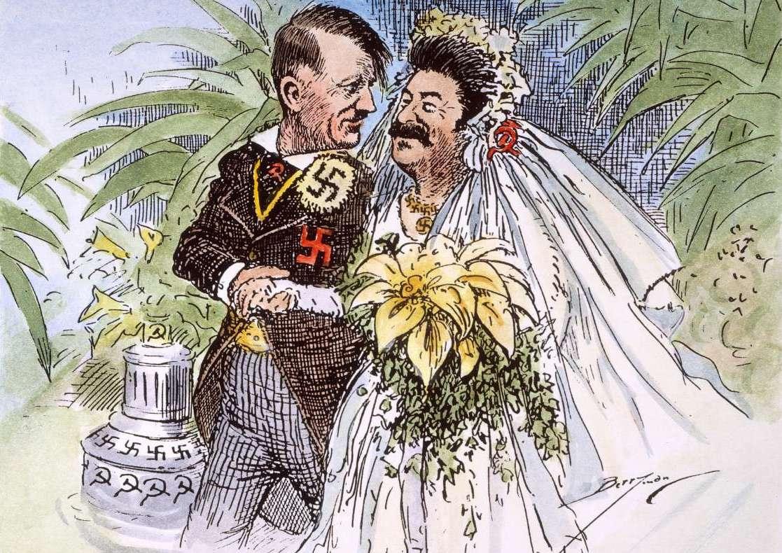 Jedna z licznych karykatur powstałych po podpisaniu paktu między III Rzeszą a ZSRS (źródło: domena publiczna).
