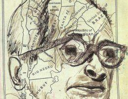 Portret Eichmanna naszkicoway na kartce z atlasu geograficznego przez agenta Petera Malkina.