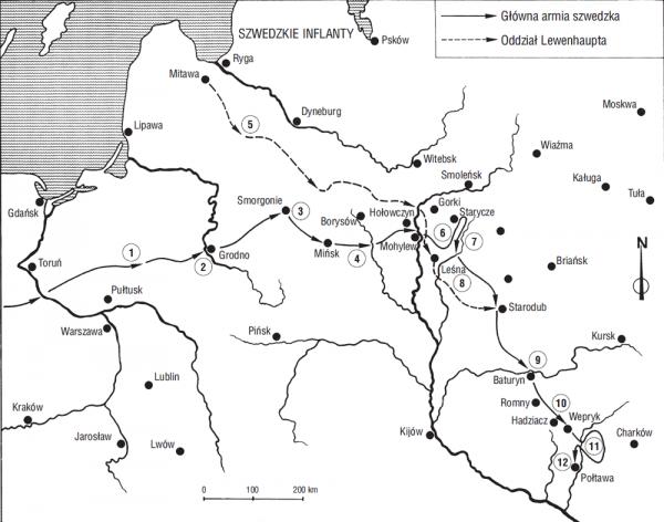 """Marsz armii szwedzkiej pod Połtawę. Mapa z książki Petera Englunda pt. """"Połtawa""""."""