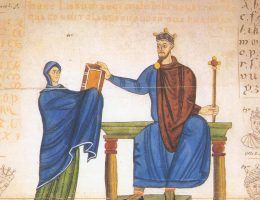 Księżna Matylda wręcza księgę liturgiczną Mieszkowi II (1000–1025 r.)
