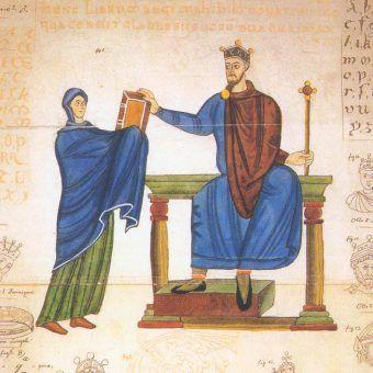 Księżna Matylda wręcza księgę liturgiczną Mieszkowi II (1000–1025 r.). To z jej listu wiemy, że znał on co najmniej dwa języki obce (łacinę i grekę).