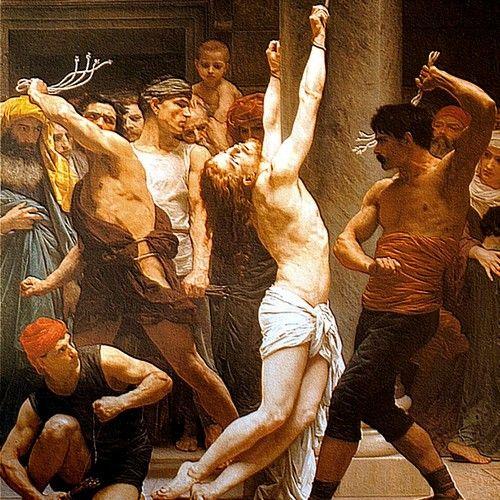 """Nie chcesz mówić? No to baty! (ragment obrazu Williama Adolpha Bouguereau pt. """"Biczowanie Jezusa"""")"""
