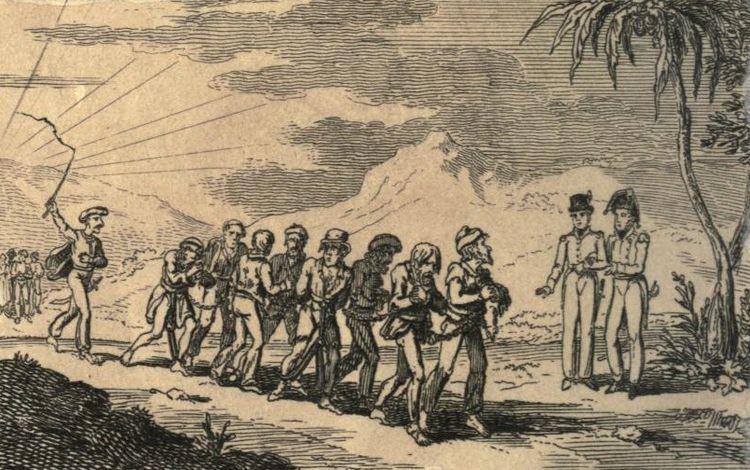 Kolumna chrześcijan zniewolonych przez piratów (źródło: domena publiczna).