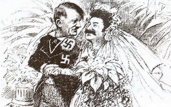Karykatura przedstawiająca pakt Ribbentrop-Mołotow, jako pożenionych Hitlera i Stalina.