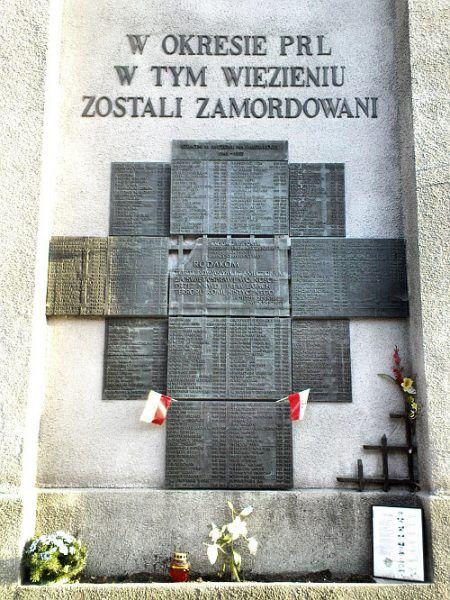 Tablica upamiętniająca ofiary więzienia na Rakowieckiej (fot. Jolanta Dyr, CC BY-SA 3.0).