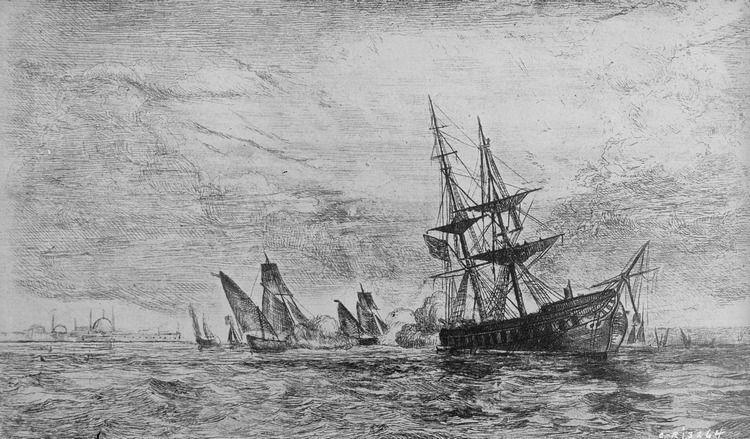 """Fregata USS """"Philadelphia"""" wpadła najpierw na mieliznę, a potem w jeszcze większe tarapaty... (źródło: domena publiczna)."""