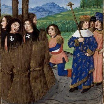 A wszystko zaczęło się od templariuszy na stosie... (źródło: domena publiczna).
