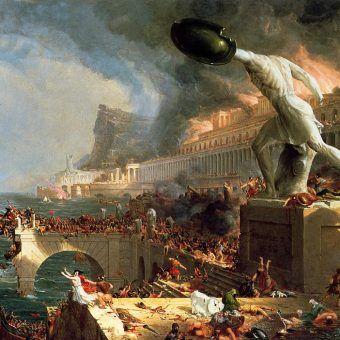 Upadek Rzymu według Thomasa Cole'a (domena publiczna).