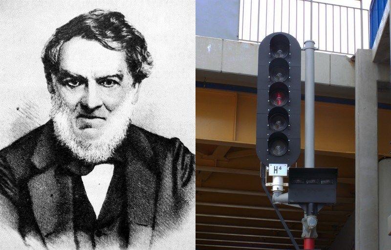 Twórca i jego dzieło - Jan Józef Baranowski oraz semafor (źródło: domena publiczna).