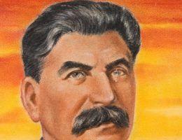 Wielki skok towarzysza Stalina. (podobizna Józea Stalina, autor William Timym; domena publiczna)