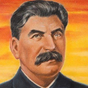 Wielki skok towarzysza Stalina. (podobizna Józefa Stalina, autor William Timym; domena publiczna)