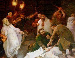 Zabójstwo pięciu braci męczenników na obrazie w kościele opactwa kamedułów w Bieniszewie (fot. Albertus teolog, domena publiczna).