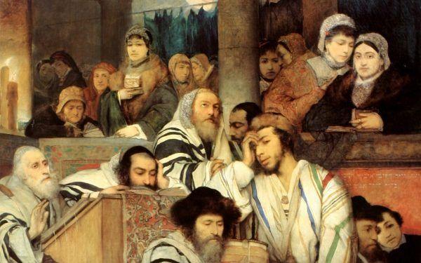 Istnieje kontrowersyjna teoria, że Żydzi aszkenazyjscy wywodzą się właśnie od Chazarów (na ilustracji obraz Maurycego Gottlieba przedstawiający Żydów modlący się w synagodze z okazji święta Yom Kippur).
