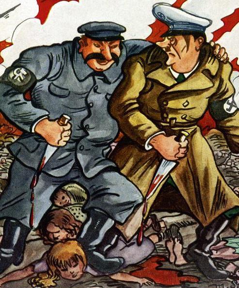 Efektem paktu Hitler-Stalin była śmierć milionów niewinnych ludzi. Na ilustracji rysunek z października 1939 roku, doskonale oddający istotę tego porozumienia (źródło: domena publiczna)