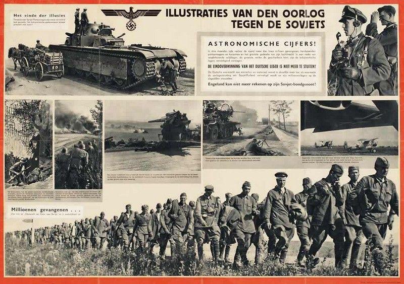Między innymi za pomocą takich treści propagandowych zachęcano Holendrów do przyłączenia się do walki ze Związkiem Radzieckim (źródło: domena publiczna).