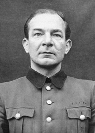 Joachim Mrugowsky na zdjęciu wykonanym w czasie procesu norymberskiego (źródło: domena publiczna).