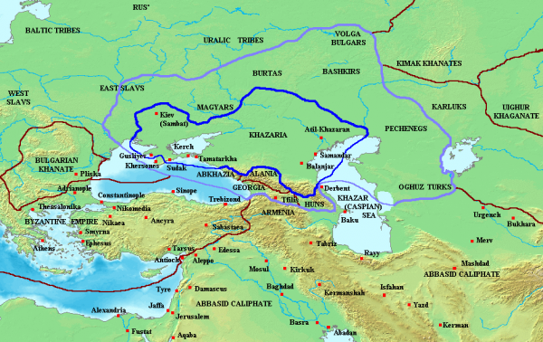 Kaganat Chazarski w XI wieku. Granatową linią zaznaczono granice państwa, zaś fioletową strefę wpływów (rys. Briangotts, CC BY-SA 3.0).