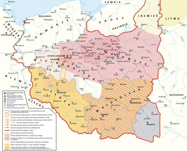 U szczytu potęgi Miecław panował nie tylko nad Mazowszem, ale też dzisiejszym Podlasiem, Kujawami i wschodnią Wielkopolską (rys. Hoodinski, CC BY-SA 3.0).