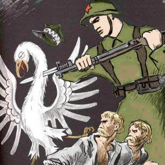Sowiecki plakat propagandowy z września 1939 roku (źródło: domena publiczna; koloryzacja RK).