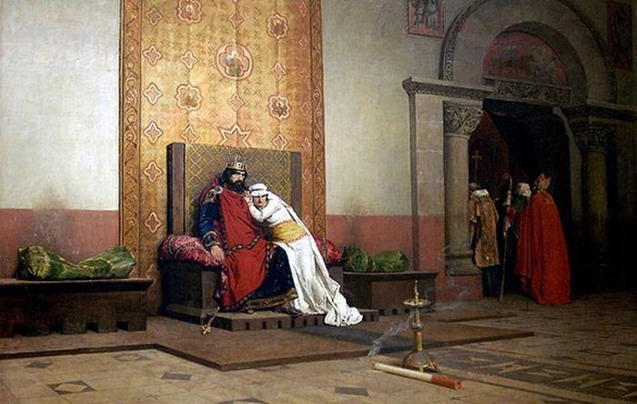 Robert i Berta na obrazie Jeana-Paula Laurensa z 1875 roku rozpaczają z powodu papieskiej ekskomuniki. Tymczasem małżonkowie - mimo reprymendy papieża - nigdy nie zostali wyklęci (źródło: domena publiczna).