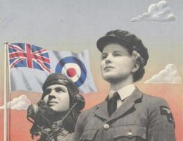 Fragment brytyjskiego plakatu wojennego zachęcającego kobiety do wstępowania do sił powietrznych (źródło: domena publiczna).