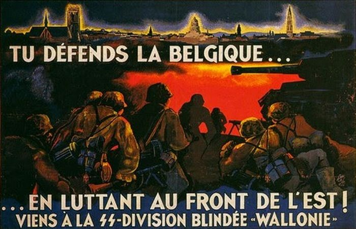 Nazistowski plakat propagandowy zachęcający Walonów do wstępowania w szeregi Waffen SS. Liczba Walonów w Waffen SS pokazuje, że przyniósł on zamierzony skutek (źródło: domena publiczna).