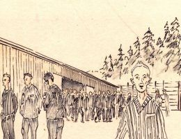Więźniowie obozu we Flossenbürgu na rysunku Stefana Kryszaka. Dla tysięcy im podobnych zakończenie wojny wcale nie oznaczało wyjścia za obozowe druty (źródło: domena publiczna).