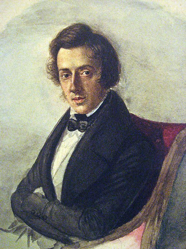 """Fryderyk Chopin, """"talentem świata obywatel"""", na obrazie pędzla Marii Wodzińskiej (źródło: domena publiczna)."""