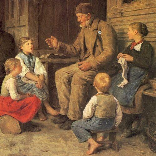 """Poradź nam dziadku! (fragment obrazu Alberta Ankera """"Dziadek opowiada wnuczkom historię"""", domena publiczna)."""