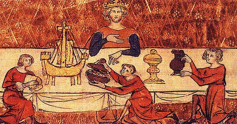 Król Edward II ucztuje... oczywiście bez żony (źródło: domena publiczna).