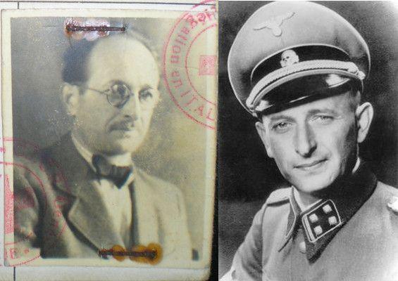 Kiedy Eichmann uciekał do Argentyny, nie przypominał już zbytnio młodego oficera SS z czasów wojny (po lewej zdjęcie z jego paszportu wystawionego przez Czerwony Krzyż, Fundacion Memoria del Holocausto, domena publiczna).