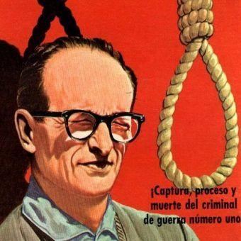 """Adolfowi Eichmannowi długo udawało mylić tropy, ale sprawiedliwość w końcu go dosięgał. Na ilustracji fragment okładki książki """"El Caso Adolfowi Eichmannowi""""."""