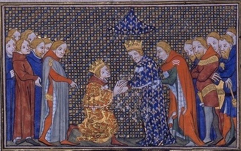 Miłe złego początki: choć pierwszy król z nowej dynastii Walezjuszy szybko odebrał hołd od głównego przeciwnika do tronu, Edwarda III angielskiego, to i tak wkrótce wybuchła między nimi wojna, która miała się ciągnąć ponad wiek (miniatura Jeana Froissarta, źródło: domena publiczna).