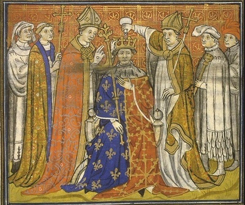 Tak wyglądała pospieszna koronacja Filipa V Długiego, dokonana zaledwie 2 miesiące po śmierci bratanka (źródło: domena publiczna).