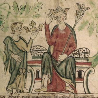 Koronacja Edwarda II na króla Anglii, czyli władca i jego luby (źródło: domena publiczna).