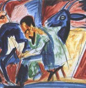 """Ernst Ludwig Kirchner """"Rolnik dojący kozę"""" (domena publiczna)."""