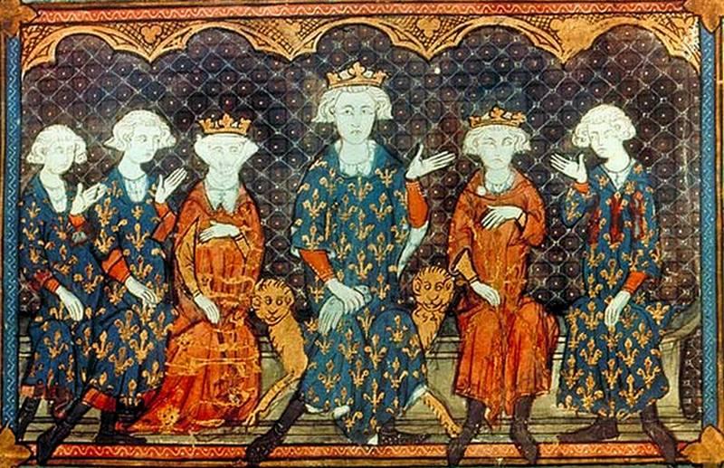 Żona Edwarda II zdecydowanie wolała spędzać czas ze swą francuską rodziną, niż z mężem. Od lewej: jej bracia Karol i Filip, Izabela we własnej osobie, jej ojciec, król Filip IV Piękny, jej brat Ludwik oraz stryj Karol Walezjusz (źródło: domena publiczna).