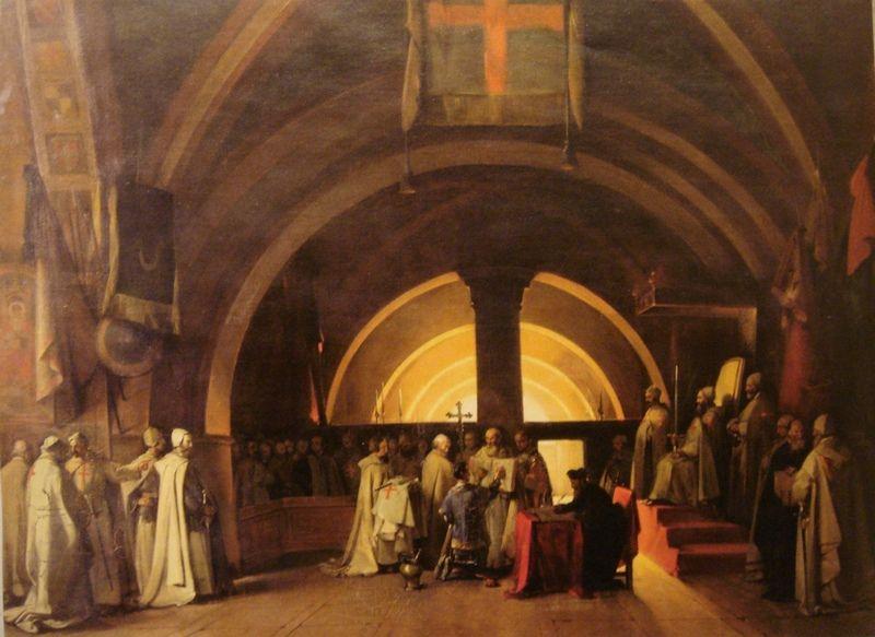 Zanim zaczął się proces, templariusze byli poważanym zakonem. Na ilustracji współczesne wyobrażenie wyświęcenia Jakuba de Molaya, wykonane przez François Mariusa Graneta (źródło: domena publiczna).