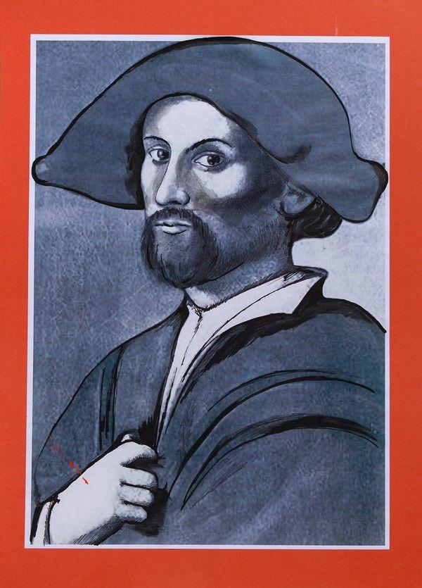 """Juan Borgia. Ilustracja pochodzi z książki """"Córka papieża"""", autor: Dario Fo we współpracy z Jessicą Borroni i Michelą Casiere."""