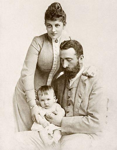 Aleksander z rodziną - żoną Johanną i synkiem Asenem - na dwa lata przed swą śmiercią (źródło: domena publiczna).